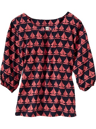 Women's Sailboat Print 3/4-Sleeve Top, $29.94, oldnavy.com