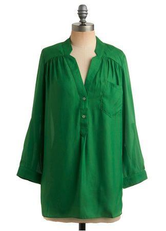 Pam Breeze-ly Tunic in Green, $34.99, modcloth.com