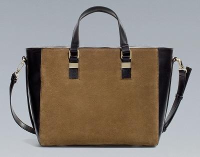 Suede Combined Shopper, $89.90, zara.com