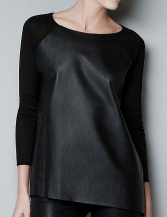 Jumper With Faux Leather Front, $59.90. zara.com