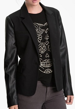 Sanctuary 'It' Faux Leather Sleeve Blazer,  $60.68 (marked down from $148), nordstrom.com