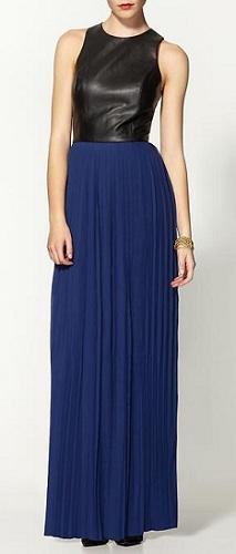 Sabine Vegan Leather Chiffon Maxi Dress, $98, piperlime.com