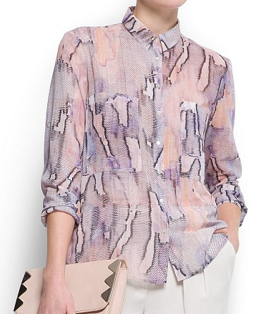 Printed Sheer Blouse, $39.99, mango.com