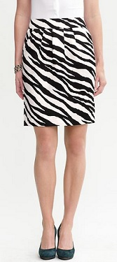 Miranda Zebra Print Skirt, $49,99 (originally $89.50), bananarepublic.com