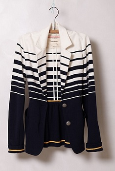 Striped Captain Blazer, $49.95 (marked down from $98), anthropologie.com