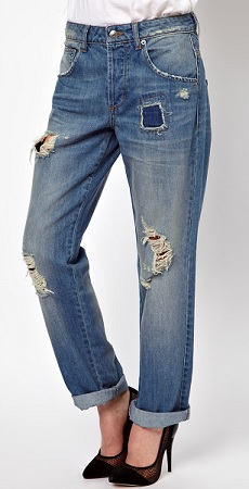 ASOS Saxby Boyfriend Jeans in Light Wash Vintage Rip and Repair, $41.58, asos.com