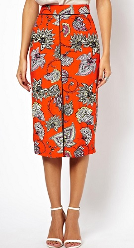 Pencil Skirt in Bold Floral With Front Slit, $59.07, asos.com