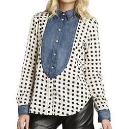 Contrast Button-Up Blouse, $44 (marked down from $88), bcbgeneration.com