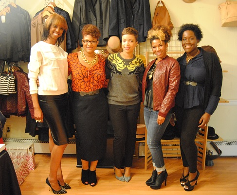 Posing for the blog-a-razzi after the fall fashion presentation.