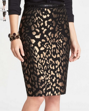 Bronze Animal Jacquard Skirt, $98, anntaylor.com