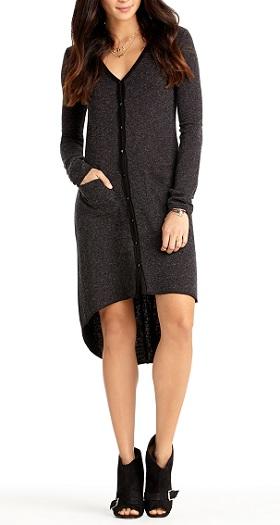 High-Low Cardigan Dress, $49, rachelroy.com
