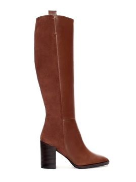High-Heeled Suede and Leather Combination Boots, $189, zara.com