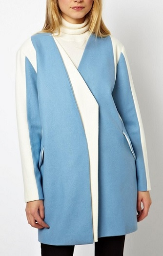 ASOS Coat With Asymmetric Colorblock, $77.13, asos.com