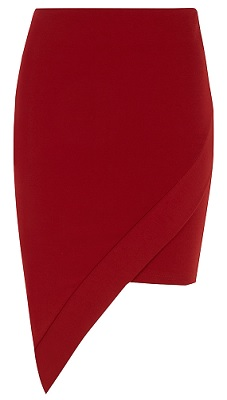 Red Slant Bodycon Skirt, $27, dorothyperkins.com: