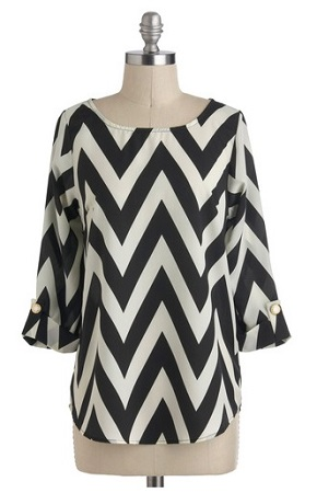 Zoom Bisou Top in Black Chevron, $39.99, modcloth.com