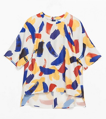 Brush Stroke Print Blouse, $49.90, zara.com