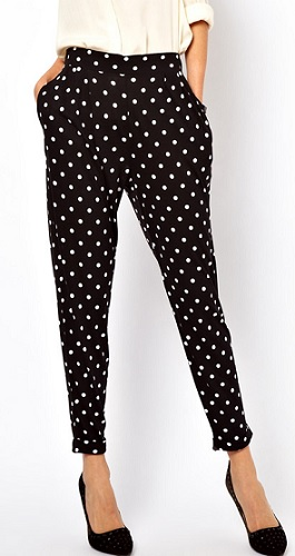 ASOS Peg Pants in Jersey With Spot Print, $34.03, asos.com