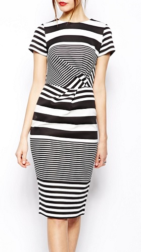 ASOS Pencil Dress in Stripe With Twist Front, $84.66, asos.com