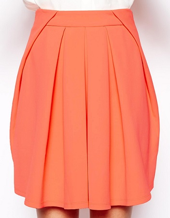 ASOS Pleated Skirt in Fluro Scuba, $40.01, asos.com