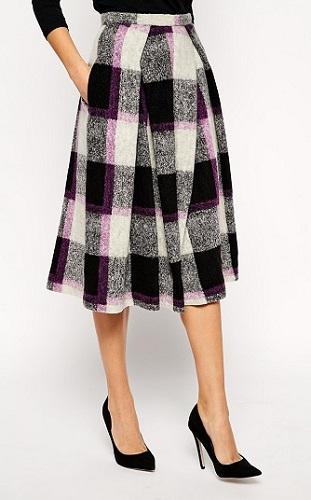 Full Midi Skirt in Bold Check, $94.75, asos.com