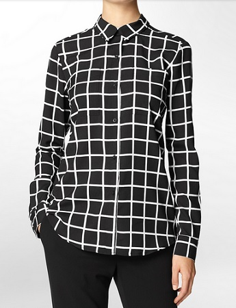 Windowpane Print Roll Up Long-Sleeve Top, $49.50, calvinklein.com