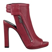 Tip-Toe Peep Toe Booties in Red Leather, $79.99, ninewest.com