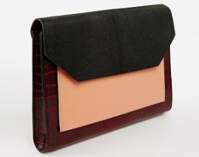 Embossed Croc and Snake Colorblock Foldover Clutch Bag, $33.16, asos.com