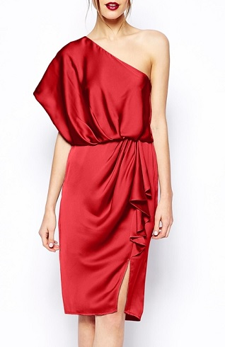 ASOS Petite Drapey Dress With One Shoulder, $85.28, asos.com