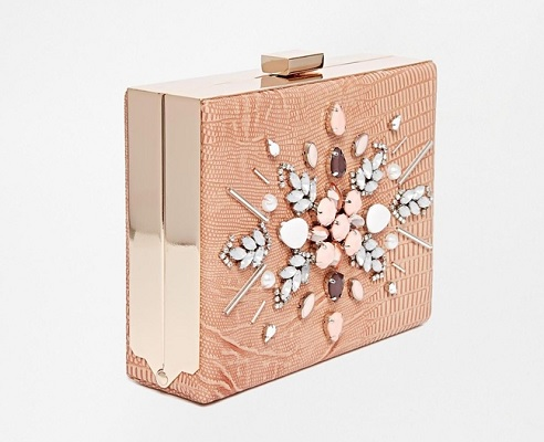 New Look Pink Embellished Clip-Top Clutch, $37.88, asos.com