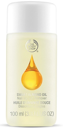 The Body Shop Sweet Almond Oil Nail Polish Remover, $10 for 3.3 fl oz at The Body Shop
