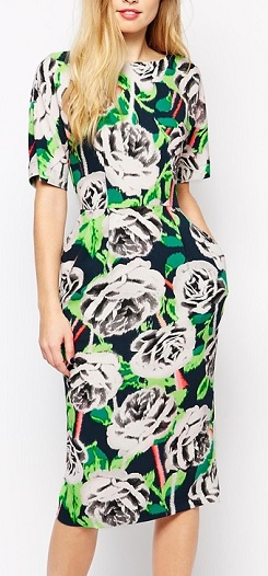ASOS Midi Wiggle Dress In Bright Floral Print, $68.50, asos.com