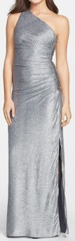 Laundry by Shelli Segal Metallic Ruched One-Shoulder Gown, $295, nordstrom.com
