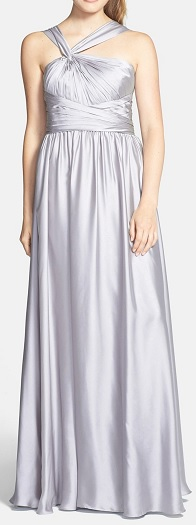 ML Monique Lhullier Bridesmaid Twist Shoulder Satin Chiffon Gown, $89.97, nordstromrack.com