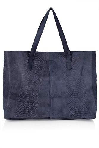 Snake Effect Suede Shopper Bag, $70, topshop.com