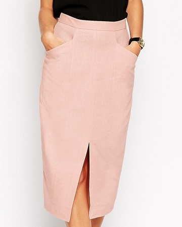 ASOS Linen Split Front Pencil Skirt, $40, asos.com