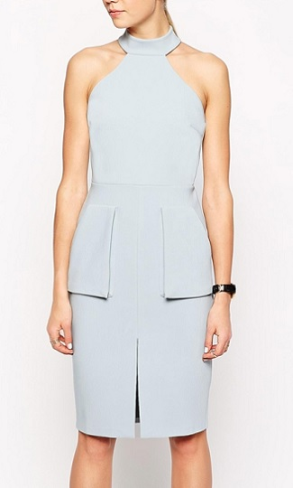 Bonded Pencil Dress With Halter Neck and Pockets, $81, asos.com