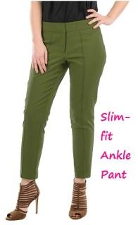 Stretch Cotton Blend Tapered Pants, eShakti.com