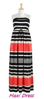 Bold Stripe Knit Strapless Maxi Dress, eShakti.com
