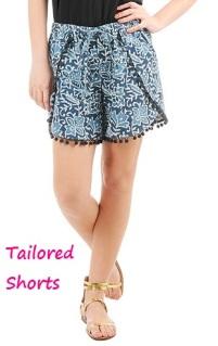 Batik Print Wrap Shorts, eshakti.com