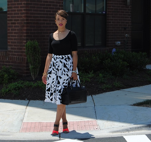 What I'm Wearing: Printed Midi-Length Full Skirt