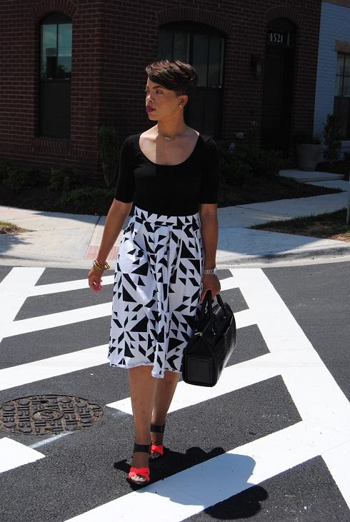 What I'm Wearing: Printed Midi-Length Full Skirt