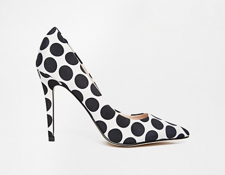 ALDO Choewia Leather Black &White Spot Heeled Pumps, $58.60, asos.com