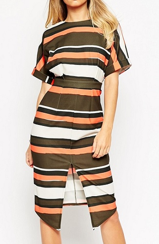 ASOS Wiggle Splint-Front Striped Dress, $87, asos.com