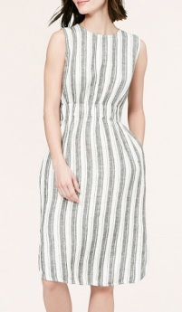 Striped Linen Midi Dress, $74.88, loft.com