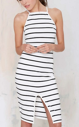 The Fifth Don't Panic Striped Midi Dress, $88, nastygal.com