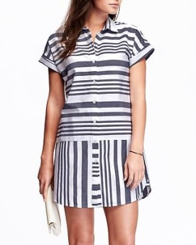 Women's Striped Oxford Shirt Dress, $15, oldnavy.com