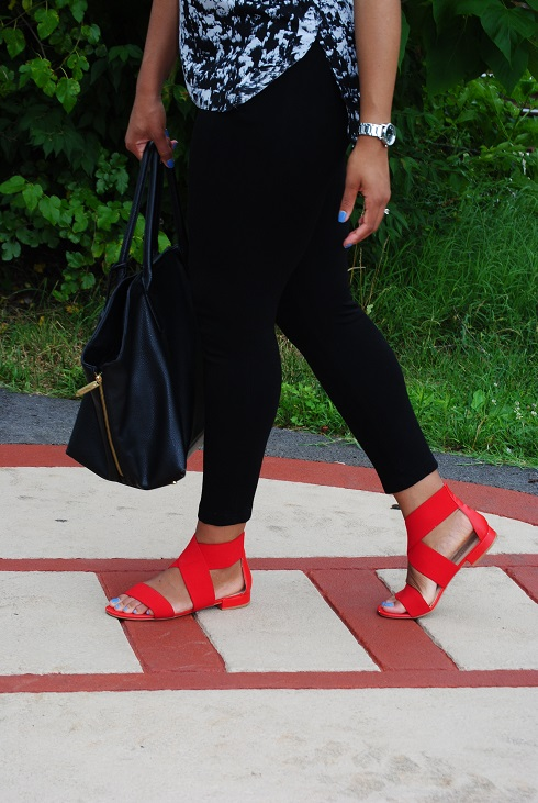 What I'm Wearing: Red Strappy Flat Sandals