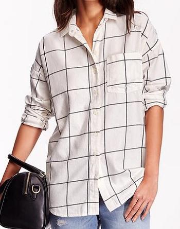 Women's Windowpane Flannel Shirt, $21, oldnavy.com