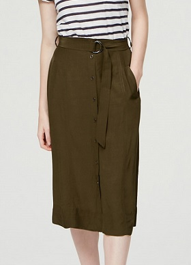 Button Front Midi Skirt, $48.65 with 30% markdown, loft.com
