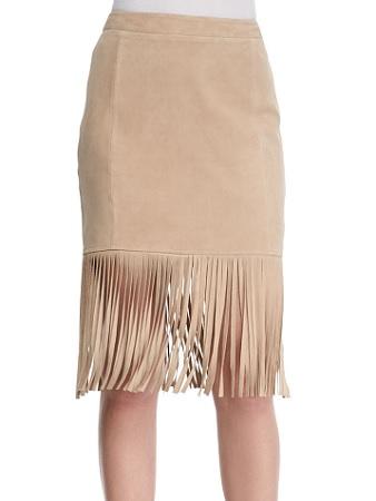 Cusp by Neiman Marcus Fringe-Hem Suede Pencil Skirt, $126, neimanmarcus.com